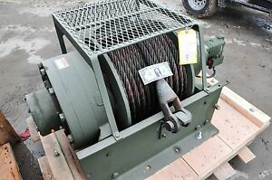 New military Winch 55 000 Lb dp Manuf Hydraulic Planetary 170 Feet 1 Inch Cable