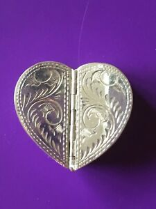 Vintage Italian Sterling Silver Heart Shaped Double Sided Pill Box 1 1 4
