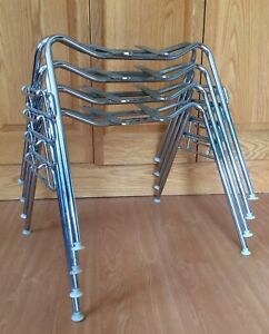 Set 4 Herman Miller Eames Narrow Mount Shell Chair Stacking Base Original Chrome