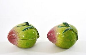 Pair Of 1930 S Chinese Famille Rose Porcelain Mini Altar Fruit Peach Shaped Box