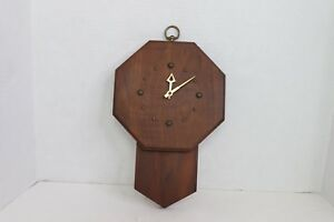 Vintage 60s Mid Century Modern Wooden Brass Hanging Wall Clock Abstract Brown