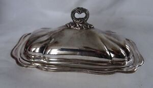 Silverplate Vintage Covered Butter Dish With Glass Liner