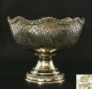 1920 S Persian Repousse Sterling Silver Stem Bowl Tazza Compote Marked 274 Gram
