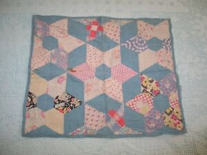 Antique Vintage Doll Quilt Patchwork Pin Wheel Quilt 1930 40s Feedsack Fabrics