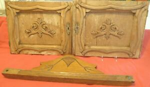 3 Antique Victorian Rococo Cupboard Doors Carved Oak Cabinet Escutchin Applique