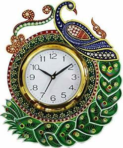 Wooden Wall Clock Vintage Peacock Design Wall Clock Home Decor 14