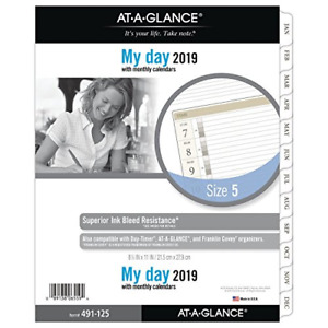 At a glance Day Runner Daily Planner Refill One Page Per Day January 2019 X