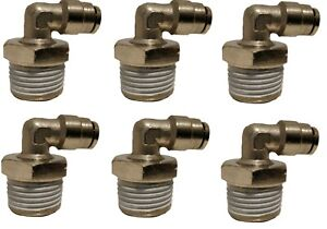 Air Ride Suspension 6 Fittings 90 1 2 Npt Male To 1 4 Air Hose Push In Bag