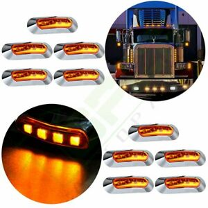 10x Amber Side Marker Clearance 4 Led Light For Trailer Truck Car Waterproof