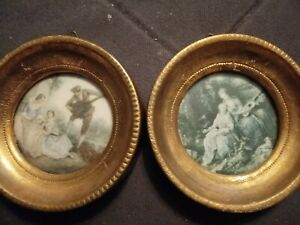 Pair Small Vintage Antique Wood Florentine Toleware Round Framed Pictures Italy