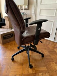 Office Chair In Brown Leather Adjustable Seat And Back Made In Canada