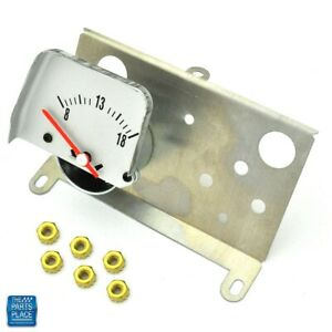 1968 69 Camaro Console Voltmeter Gauge Silver Face W Mounting Plate Gm 51021 Ea