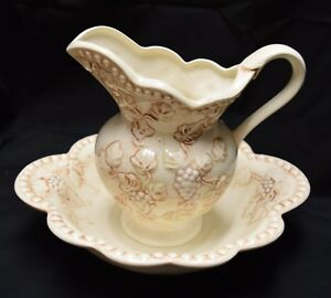 Large Antique Pitcher Wash Basin Bowl Set Cream And Brown With Raised Flowers