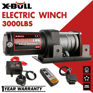 X Bull 12v 3000lbs Electric Winch Steel Cable Atv Utv Wireless Remote Control