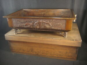 Antique Japanese 200 Yrs Old Signed Bronze Ikebana Bonsai Stand Dragon Phoenix