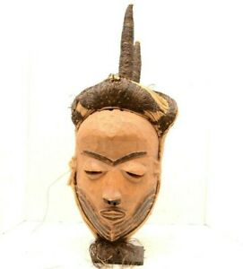 Large Eastern Pende Kwilu Mask Headress W Horns Dr Congo African Tribal Art Vtg