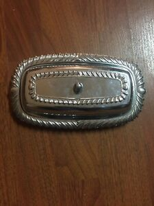 Silver Plated Butter Dish With Glass Tray