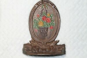 Rare Vintage Cast Iron Bradley Hubbard Style Floral Oval Bookend Or Doorstop