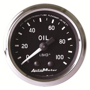 Autometer 201006 Oil Pressure Gauge Mechanical With 1 8 Npt Adapter 2 0625