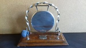 Antique Edwardian Victorian Silver Plate Brass Table Dinner Gong Wooden Plinth