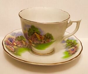 Vintage Tea Cup And Saucer Bone China England Thatched Cottage Flowers