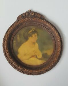 Vintage Small Round Photo Picture Frame Young Girl