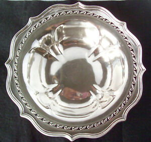 Older Jennings Silver Co Heavy Sterling Serving Bowl Reticulated Scroll Rim