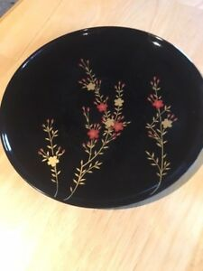 Antique Vintage Japanese Gilt Decorated Lacquer Tray Dish Plate Gold