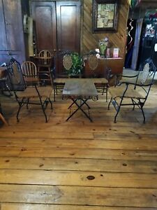 Vintage Wrought Iron Settee Iron Coffee Table With Glass And 2 Iron Chairs