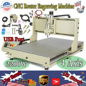 4 Axis Cnc 6090 Router Engraver Machine 2200w Mill 3d Metal Usb Cutter Spindle