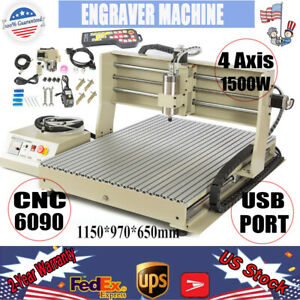Usb 4 Axis Cnc 6090 Router Engraver Machine Mill 1 5kw Vfd Cutter W Controller