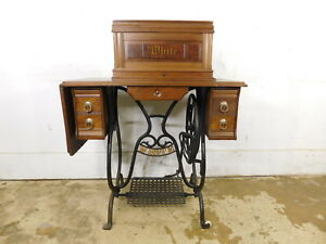 Rare Working 1880s Antique 5 Drawer White Treadle Sewing Machine Bonnet Top Key