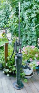 Antique F W Hoosier Cast Iron Water Pump Vintage Hand Operated Windmill Well