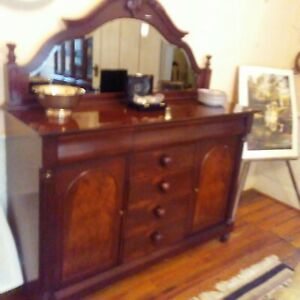 Antique Tiger Oak Sideboard Buffet Cabinet With Mirror