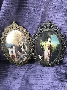 2 Vintage Italy Antique Brass Metal Oval Picture Frames Bubble Glass Victorian