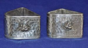 Pair Napkin Rings Silver Plate Triangular With Bees Flowers Vintage