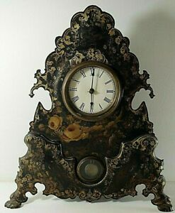 Victorian 1850 S Mantel Clock With Painted Cast Iron Face Working 20