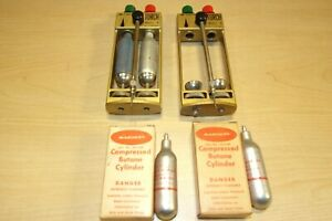 Vintage Microflame Mini Butane Gas Welding Torch Cylinders Pat No 3 246 849