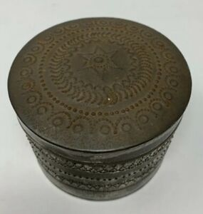 Primitive Country Antique Folk Art Punched Tin Berry Container
