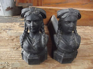 Antique French Cast Iron Fire Dogs Figural Lady S Head Architectural Alsace