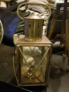 Antique Large Brass Oil Lamp Ship Lantern 15 Nautical Maritime Cargo Lantern