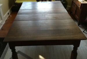 Mission Oak Wood Arts Crafts Antique Square Kitchen Dining Table W Leaves