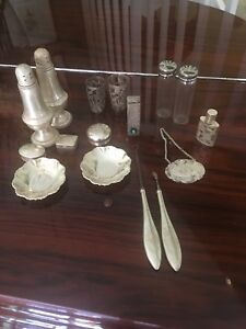 Lot Of Sterling Silver Salt Pepper Shaker Lipstick Odds Ends Use Scrap