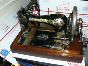 1896 Singer Hand Crank Sewing Machine Model 28 Coffin Free Ship Usa