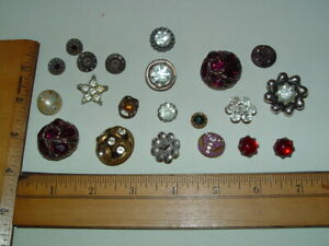 Lot 21 Antique Vintage Rhinestone Buttons