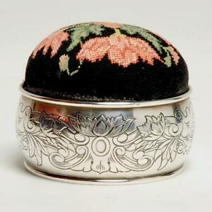 Vintage Sterling Silver Petit Point Pin Cushion