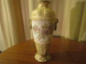 Antique Post 1890 Royal Bonn Porcelain Urn Vase Dual Handle Floral W Gold 9 5