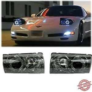 For 1997 2004 Chevy Corvette C5 Front Headlights Halo Projector Smoke Housing