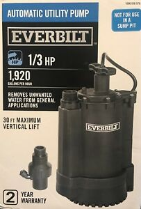 Everbilt Automatic Utility Pump 1 3 Hp 1 920 Gallons hour