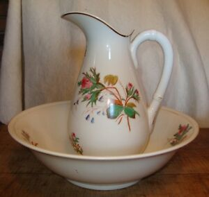 19th Century English Ironstone Large White Pitcher Bowl Wash Basin Set Moss Rose